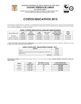 costos educativos 2015 - Colegio Teresita De Lisieux