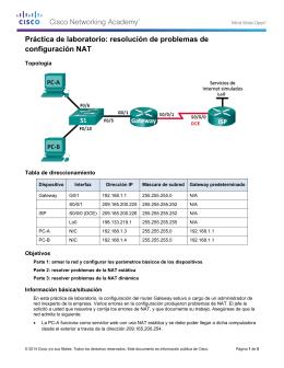 resolución de problemas de configuración NAT