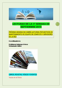 Lecturas de la Tercera Semana de Septiembre 2015
