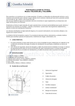 Esterilizadora portátil de 18 litros Modelo YXQ.SG46.280 y YXQ