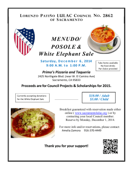 MENUDO / POSOLE & White Elephant Sale Saturday