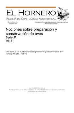 Nociones sobre preparación y conservación de aves