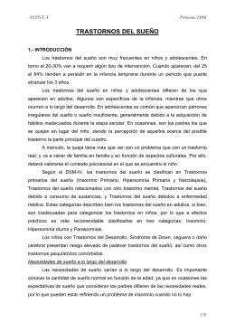 Trastornos del Sueño - Asociación Española de Pediatría