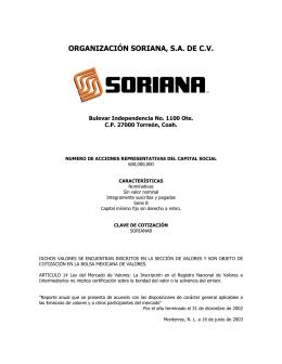 ORGANIZACIÓN SORIANA, S.A. DE C.V.