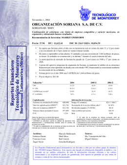 ORGANIZACIÓN SORIANA S.A. DE C.V.
