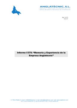 """Informe I/375: """"Memoria y Experiencia de la Empresa Anglatècnic"""""""