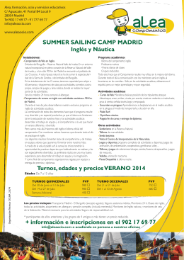 SUMMER SAILING CAMP MADRID Inglés y Náutica Turnos, edades