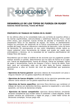 DESARROLLO DE LOS TIPOS DE FUERZA EN RUGBY