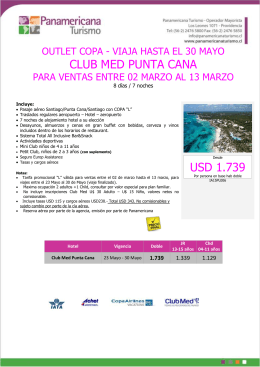 CLUB MED PUNTA CANA USD 1.739
