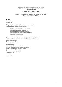 FISIOTERAPIA RESPIRATORIA EN EL PACIENT POSTQUIRÚRGIC