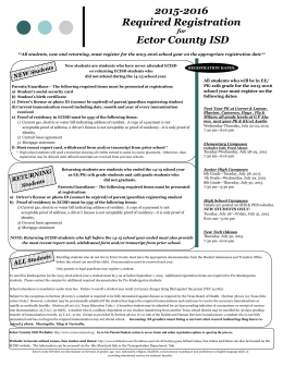 2015-2016 Required Registration Ector County ISD
