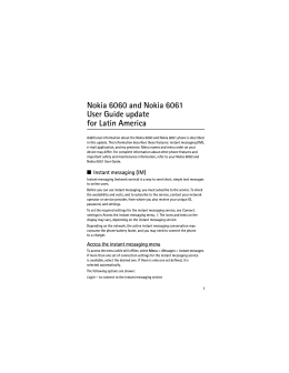 Nokia 6060 and Nokia 6061 User Guide update for Latin America