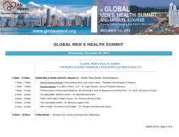 Conference agenda - Global Men`s Health Summit