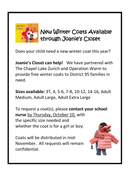 New Winter Coats Available through Joanie`s Closet