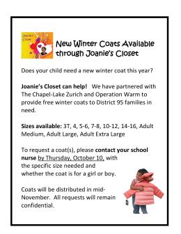 New Winter Coats Available through Joanie`s Closet