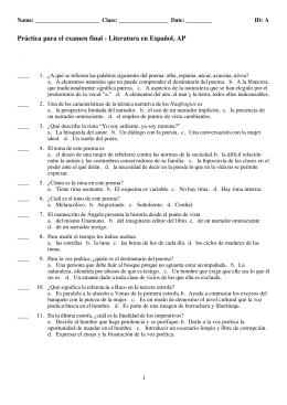 Práctica para el examen final S Literatura en Español, AP