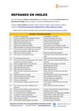 REFRANES EN INGLÉS - Laboratorio de Idiomas UMH