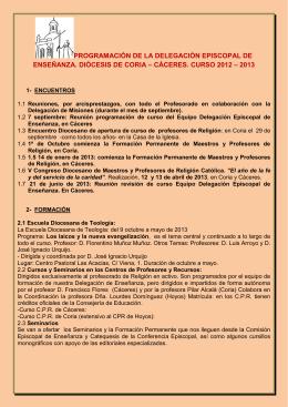 programación de la delegación episcopal de enseñanza. diócesis