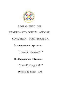 Reglamento del Campeonato Oficial Año 2015