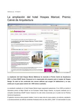 La ampliación del hotel Hospes Maricel, Premio Calviá de