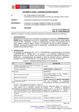 INFORME Nº 003634 - 2008/DEPA-APRNFF/DIGESA Exp. Nº 11317