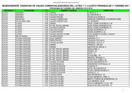 Agencias de Viajes autorizadas 2015-2016 lotes 1 y 3