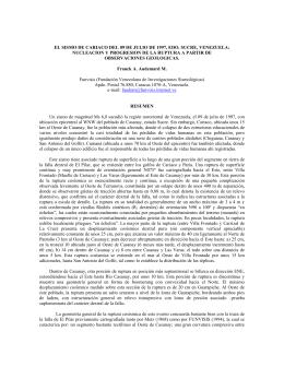 el sismo de cariaco del 09 de julio de 1997, edo. sucre, venezuela