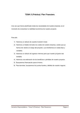 TEMA 5 (Práctica): Plan Financiero.