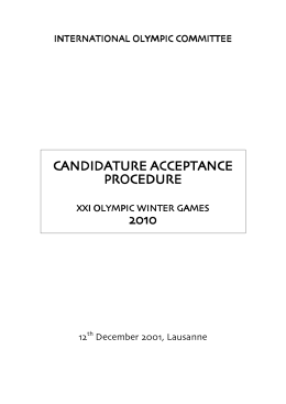 candidature acceptance procedure - International Olympic Committee
