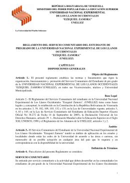Reglamento del Servicio Comunitario UNELLEZ