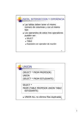 UNION, INTERSECCION Y DIFERENCIA
