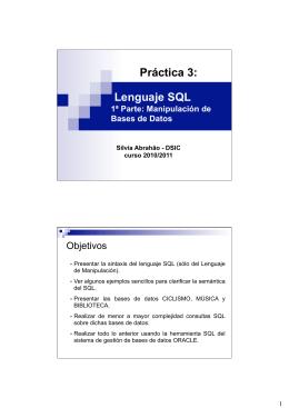 Práctica 3: Lenguaje SQL