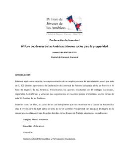 Declaracion IV Foro de Jovenes de las Americas
