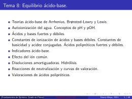 Tema 8: Equilibrio ácido-base