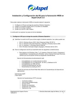 Instalación y Configuración del IIS para la facturación WEB en Aspel