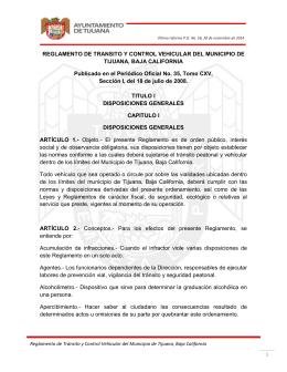 REGLAMENTO DE TRANSITO Y CONTROL VEHICULAR DEL