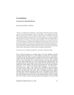 Lovesickness - Medische Antropologie, Tijdschrift over Gezondheid