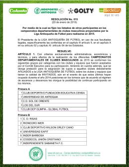 Resolución No. 15 de 2015 - Liga Antioqueña de Fútbol