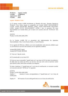 NOTAS DE VERSIÓN - Aranda Software