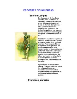 PROCERES DE HONDURAS El Indio Lempira