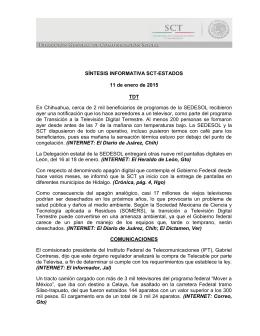 SÍNTESIS INFORMATIVA SCT-ESTADOS 11 de enero de 2015 TDT