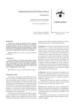 Determinación de Ferritina Sérica