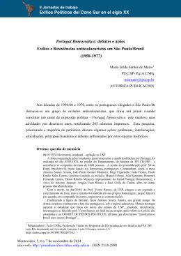Portugal Democrático - Jornadas de Trabajo sobre Exilios Políticos