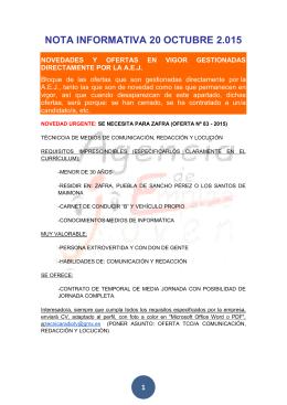 NOTA INFORMATIVA 20 OCTUBRE 2.015