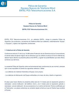 Póliza de Garantía Equipos Nuevos de Telefonía Móvil ENTEL PCS