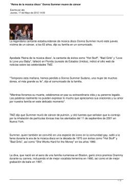 """Reina de la música disco"" Donna Summer muere de cáncer"