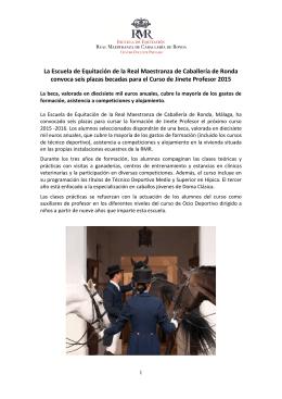 Convocatoria Plazas Real Maestranza de Caballería de Ronda