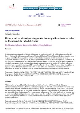 Historia del servicio de catálogo colectivo de publicaciones seriadas