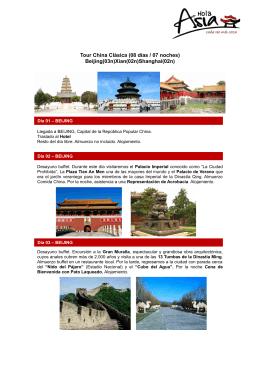 Tour China Clásica (08 días / 07 noches) Beijing(03n