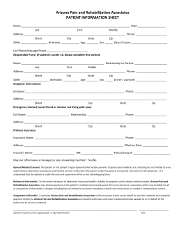 New Patient 8-10 - Arizona Pain & Rehabilitation Associates